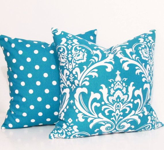 TURQUOISE Damask Decorative Pillow Cover Accent Pillow Throw Pillow Square Pillow Old Station Handmade in USA