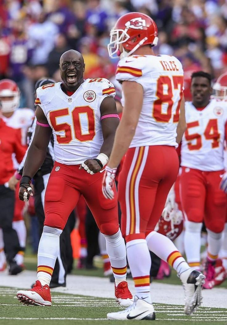 Kansas City Chiefs outside linebacker Justin Houston (50) celebrated the 37-yard pass catch by Kansas City Chiefs tight end Travis Kelce (87) in the fourth quarter against the Minnesota Vikings on October 18, 2015 at TCF Stadium in Minneapolis, MN. The Chiefs fumbled on the next play and lost, 16-10.
