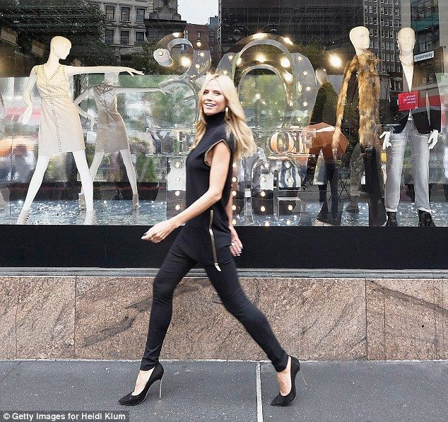 Heidi Klum shows off Macy's INC clothing line at the New York flagship #dailymail