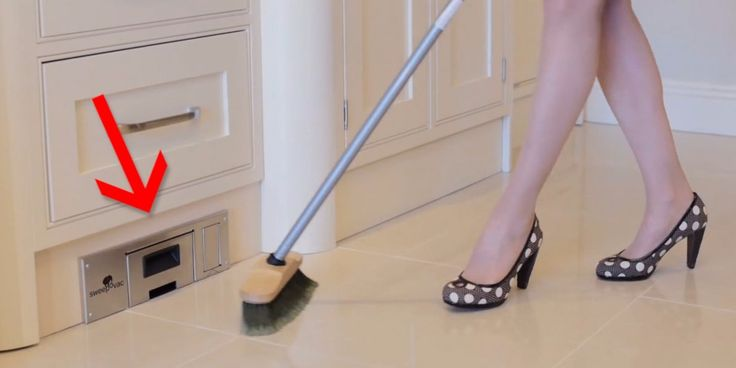 An in-wall vacuum makes sweeping so much easier