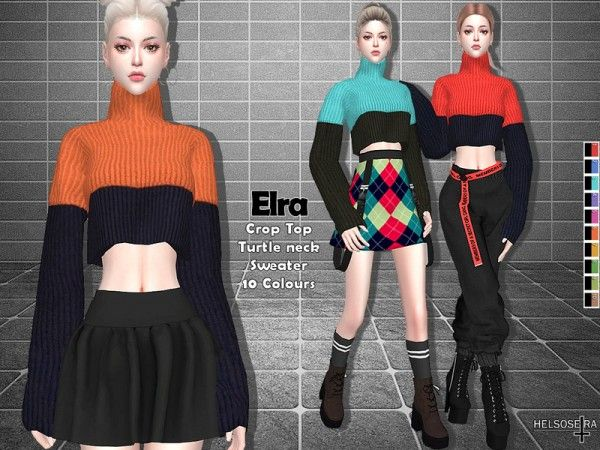 The Sims Resource: Elra – Crop Sweater Top by Helsoseira • Sims 4