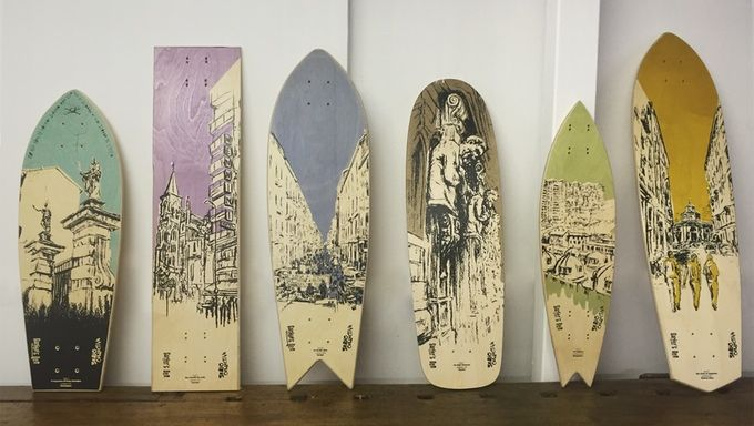 A limited edition series of 12 illustrated skateboard decks, designed, handcrafted and screen printed, narrating the city of Milan