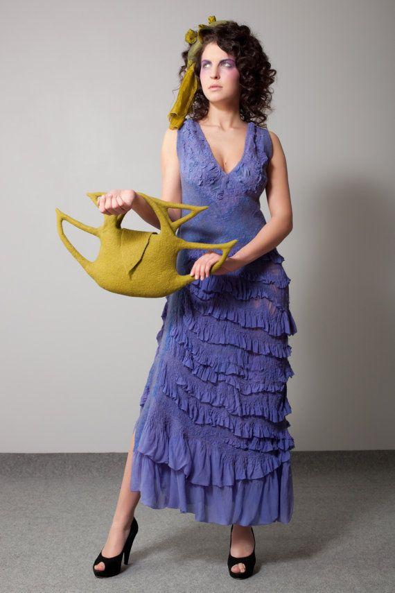"Nuno-felt light dress ""Lavandula angustifolia"""