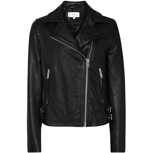 Reiss Leather Caden Biker Jacket, Black ($520) ❤ liked on Polyvore featuring outerwear, jackets, black, moto jackets, leather biker jackets, fitted motorcycle jacket, leather moto jacket and short-sleeve jackets