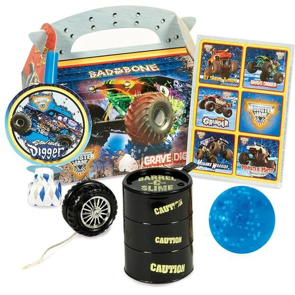 Monster Jam 3D Party Favor Box Includes themed party box with themed sticker sheet*, black barrel-o-slime, theme blow out*, plus a glittler ball, black barrel-o-slime, and wheel yo-yo. *This product is officially licensed by Monster Jam. One or more of the party favors included in the favor kit may be substituted with an item of similar quality due to availability. Weight (lbs) 0.75 Length (inches) 10 Width (inches) 8 Height(inches) 6 Birthday Party Supplies Multi-colored One Size Birthday…