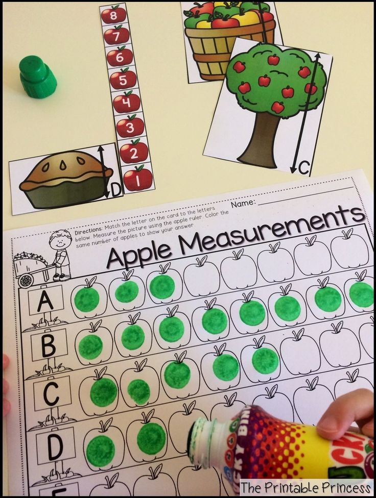 Apple measurement... measure the picture, dab the apples to show your answer.