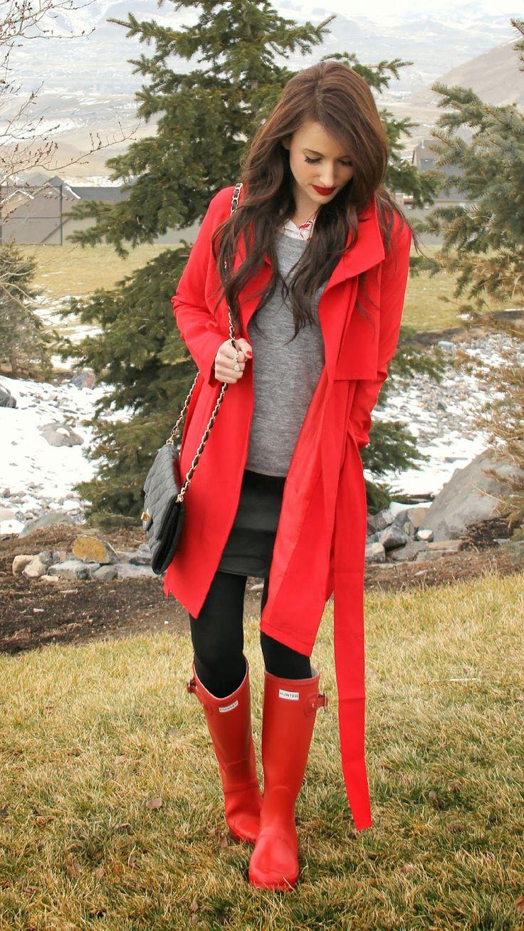 Jubilant Red Belted Trench Coat (Kissmedarling)