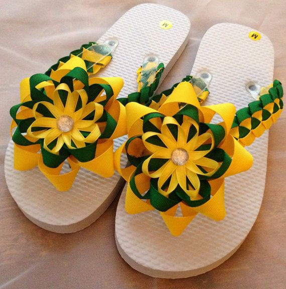 Green and Yellow Flip Flops Ladies M 7 to 8 by meganasikainen, $28.00