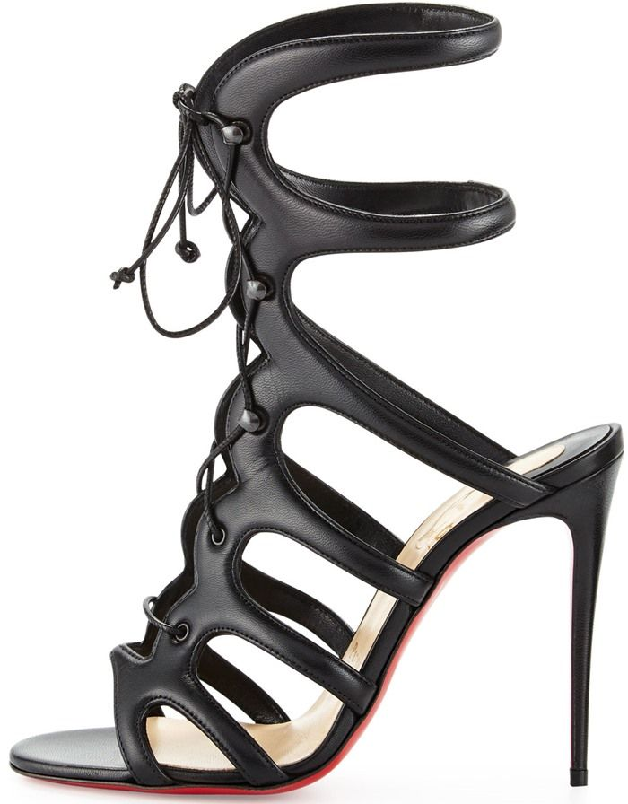 Christian Louboutin Amazoulo 100 lace-up suede sandal in black ...