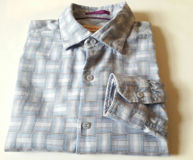 Tommy Bahama Men's Large Long Sleeve Casual Button Up Plaid Silk Cotton Shirt    Pre-owned, used gently,   Comes from smoke-free, pet free environment  No holes, no rip etc.       Length:30  Hem:23  Waist:23  Chest: 23  Shoulder:19  Sleeve:24  | eBay!