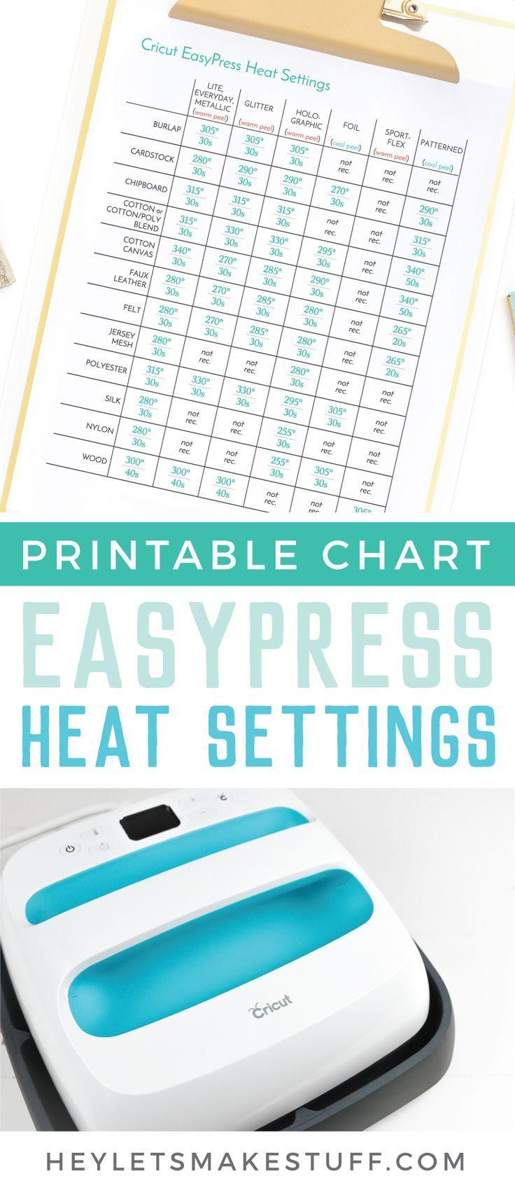 Heat Settings For The Cricut Easy Press Cricut Projects Vinyl Diy Cricut Cricut