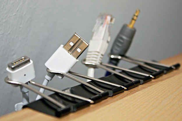 Keep USB cords from getting lost behind your desk by attaching them with binder clips. | 25 Unexpectedly Genius Household Hacks You'll Wish You'd Thought Of First