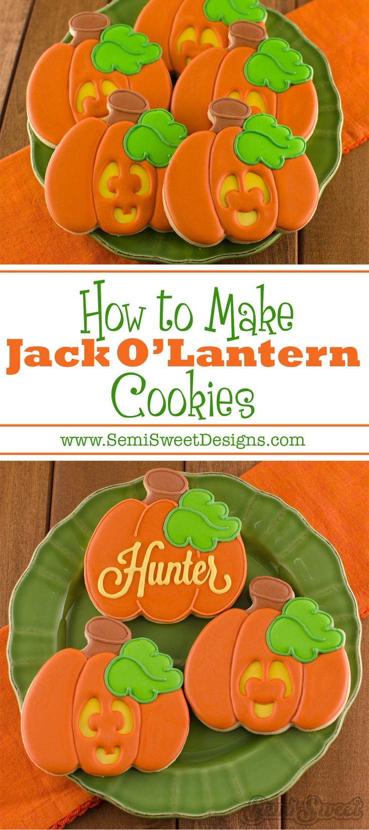 How to Make Jack O' Lantern Cookies by www.SemiSweetDesigns.com