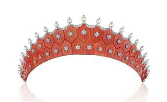 AN EXQUISITE CORAL, DIAMOND AND PEARL TIARA, BY CARTIER Price realised USD 775,500 Estimate USD 200,000 - USD 300,000