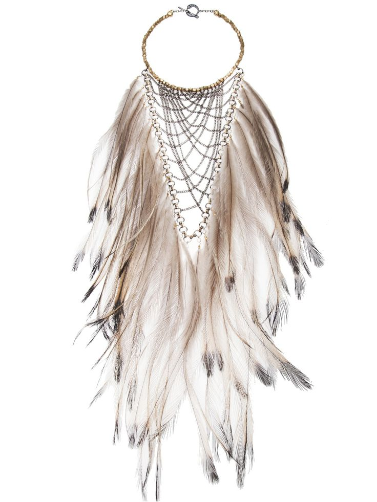 Clemmie Watson Emu Feather Bib Necklace - Church - Farfetch.com
