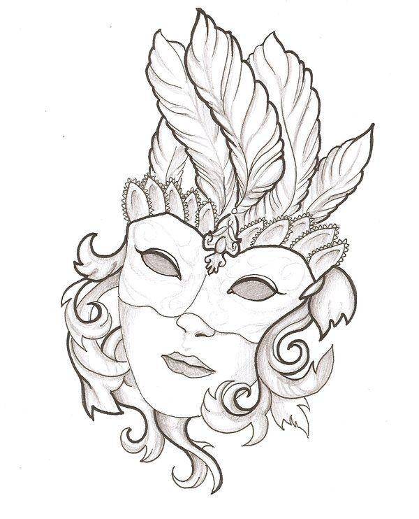 drawing mask venetiaanse maskers kleurplaten en
