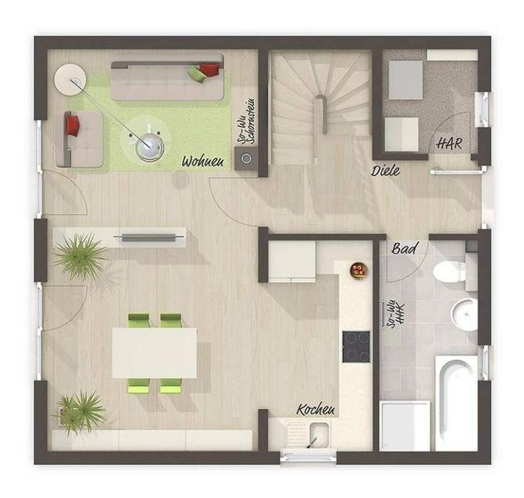 Grundriss Einfamilienhaus Erdgeschoss, 3 Zimmer, 90 qm