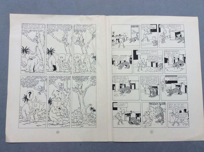 """Hergé - alternatieve Edition pgs. 40  37 samengebonden zonder respect voor de zin van lezen - Kuifje in Congo - (1946)  Zeldzame set van twee pagina's van de kleuren van 1946 afgedrukt in zwart-wit versie die afkomstig zijn van de zogenaamde """"alternatieve uitgave"""" afdrukken zwart-wit van de pagina's van de editie-kleuren.Het is het verzoek van Hergé die er een paar gedrukte exemplaren in zwart-wit waren niet verwant en in katernen van 8 pagina's die hielp de studio's te knippen uit de tekens…"""