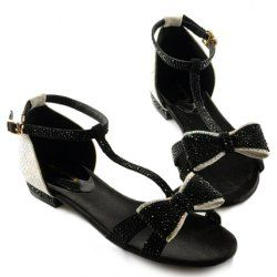 $28.83 Fashion Style Women's Flat Sandals With Bow and Rhinestone Design