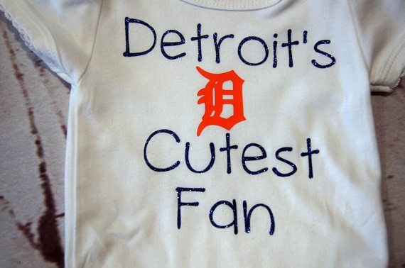 """**This listing is for the girl's #bodysuit only.  The tutu and bow are in separate listings.  """"Detroit's Cutest Fan"""" bodysuit design is made with quality heat transfer vinyl... #handmade #detroit #tigers #onesie #baby #toddler #orange #navy #girls #teeshirt"""