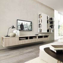 Wall-mounted sideboard / contemporary / elm