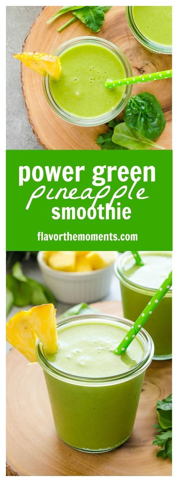 Power Green Pineapple Smoothie is a refreshing blend of pineapple, power greens, and chia seeds for a vegan, energy boosting smoothie that even the kids will love! /FlavortheMoment/
