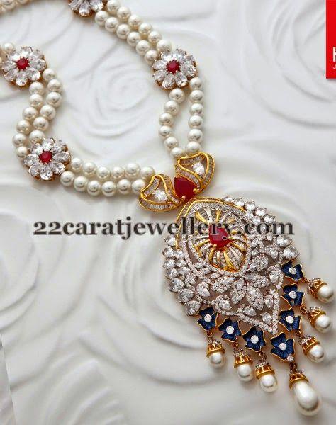 Jewellery Designs: Floral Pearls Set by Kalyan Jewellers