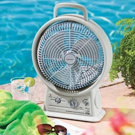 Rechargeable Fan lets you enjoy a cool breeze and your favorite radio station anywhere.-- great for the beach, but even better for when the power goes out!!!