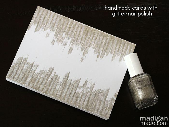 Easy, handmade cards using nail polish. (What?! Genius!)