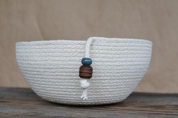 rope basket - medium w/ wooden & clay beads