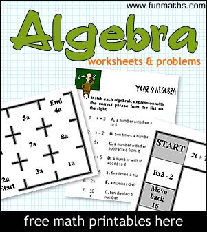 Algebra worksheets and problems for high school students and teachers.