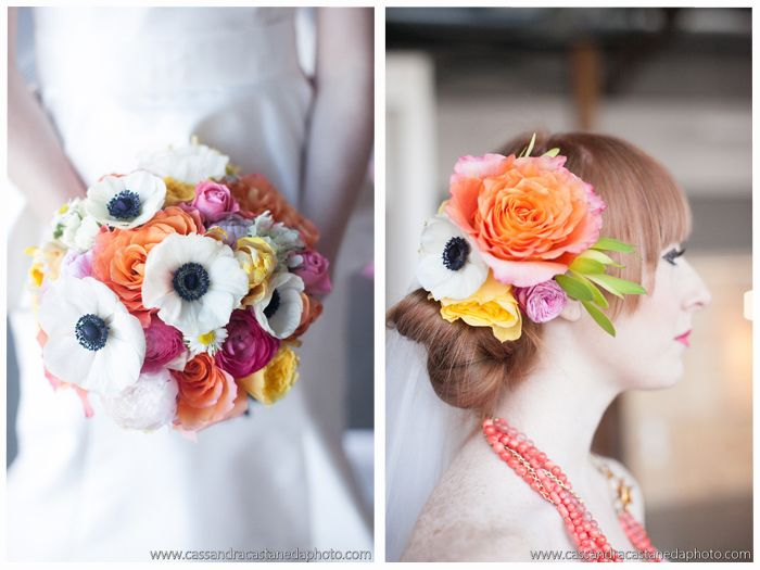 Bold bright bridal hair flowers, and a bouquet with anemones, garden rose, and ranunculus.
