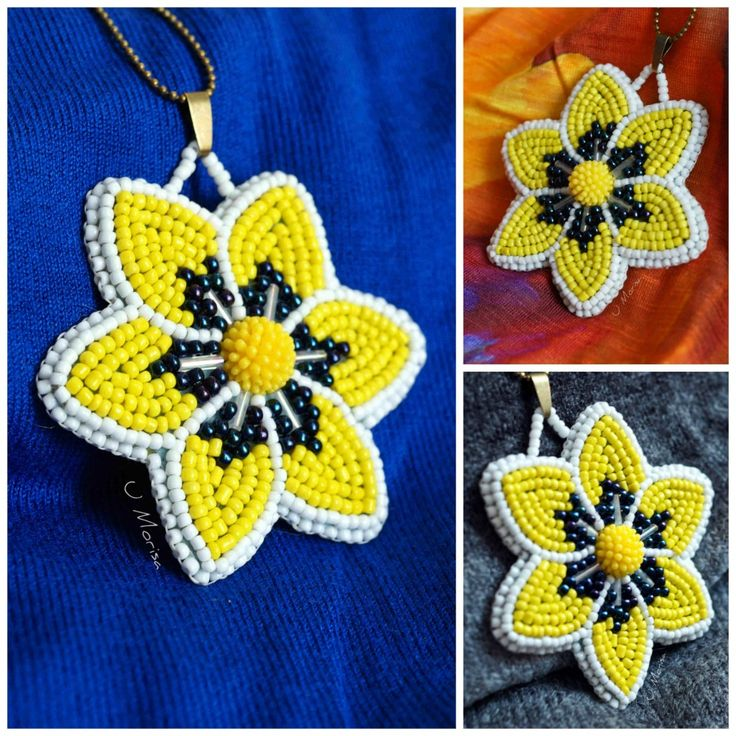 Yellow flower pendant embroidered with seed beads on a flet
