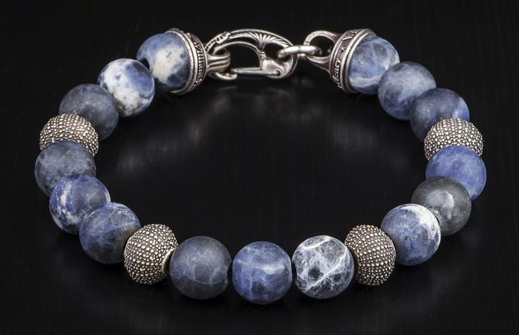 Sodalite Bead Bracelet from William Henry echos the dark colors of the Pacific Northwest coast.