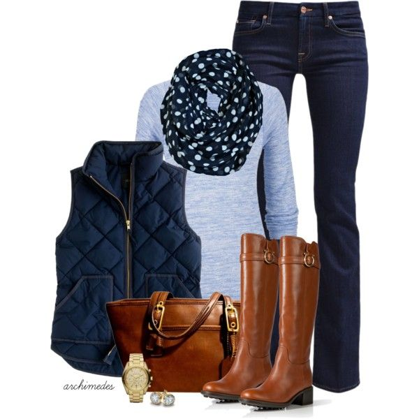 Blue Polka Dots by archimedes16 on Polyvore featuring maurices, J.Crew, 7 For All Mankind, Salvatore Ferragamo, Coach, Michael Kors and Blue Nile