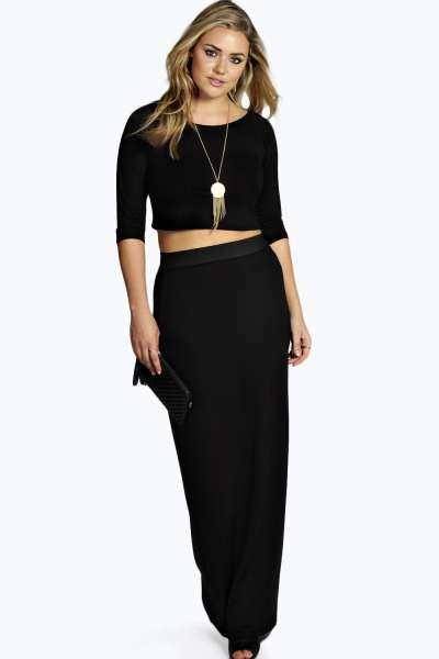 Gracie Contrast Waistband Jersey Maxi Skirt at boohoo.com