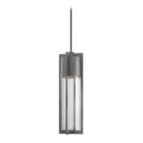 Modern Outdoor Hanging Light with Clear Glass in Hematite Finish at Destination Lighting