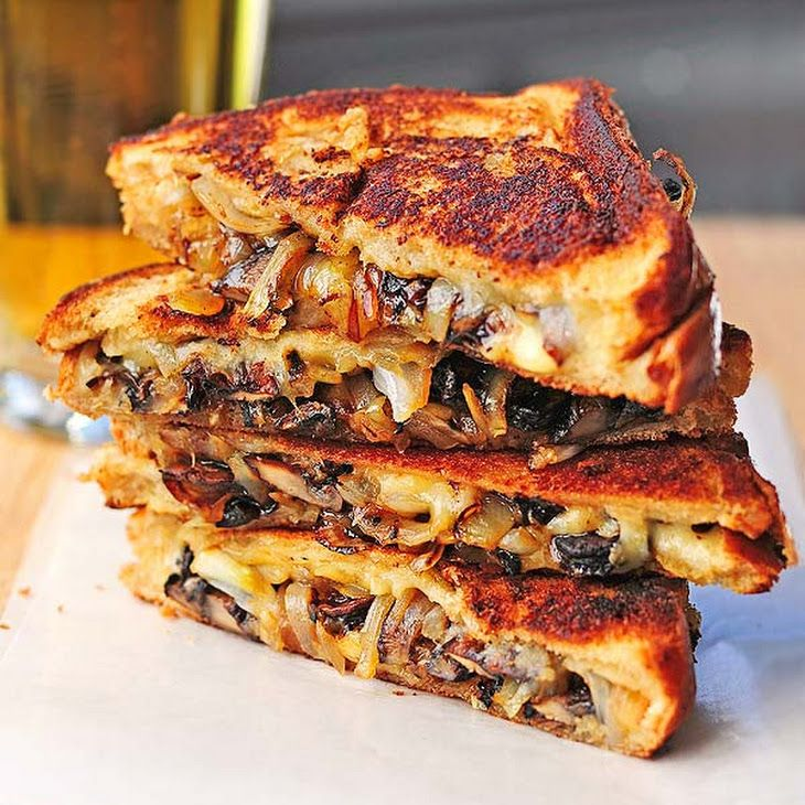 Grilled Cheese with Gouda, Roasted Mushrooms and Onions Recipe Lunch and Snacks with mushrooms, onions, olive oil, pepper, salt, butter, bread, gouda