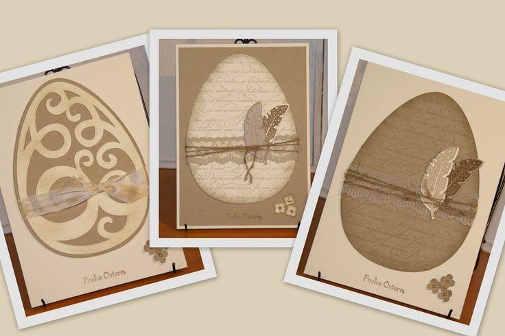 Osterkarten mit Hintergrundstempel En Francais, Itty Bitty Stanze, Four Feathers…
