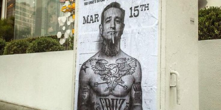 Ted Cruz Has An Incredible Response To These Tattooed Posters Of Him--this actually makes him sort of 'hunky' (which he is not). He is ugly, inside and out. Let's not even talk about the state of his brain (or absence of one) and a soul.