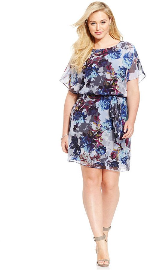 Plus Size Chiffon Blouson Dress: