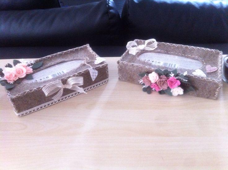 Custodia x scatola fazzoletti in feltro decori pannolenci
