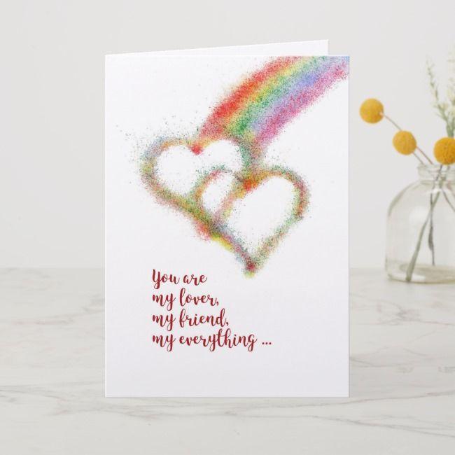 Happy Anniversary Wife Lesbian Rainbow Hearts Card Zazzle