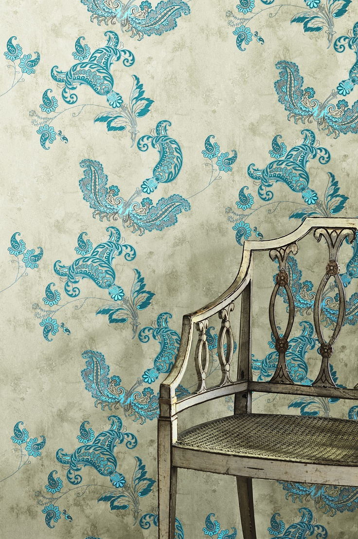Barneby Gates   Paisley   Turquoise On Old Grey Wallpaper