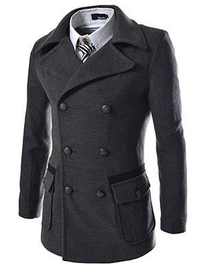 (SWC-CHARCOAL) Slim Double Breasted 2 Tone Wool Coat