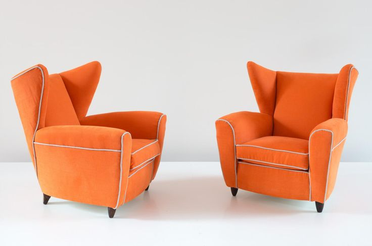 Orange Wingback Armchairs by Melchiorre Bega, Set of 2