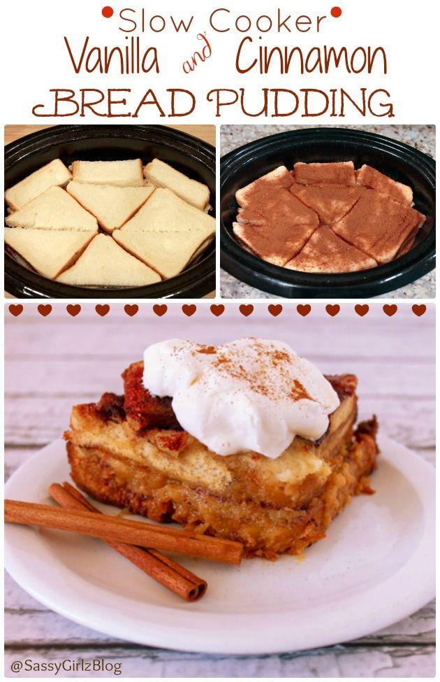 Slow Cooker Easy Cinnamon & vanilla Bread Pudding | Sassy Girlz Blog