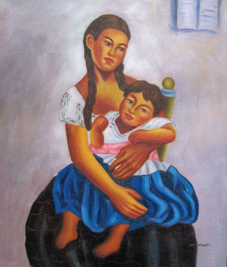 MEXICAN ART DIEGO RIVERA REPRO\' MOTHER AND CHILD OIL PAINTING