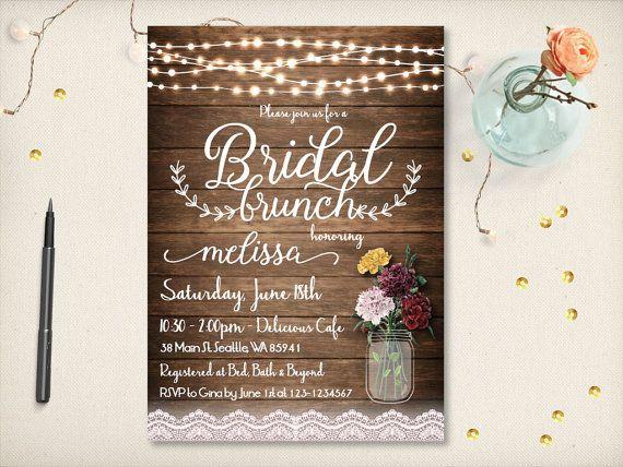 Rustic Bridal Brunch Invitation Mason Jar By