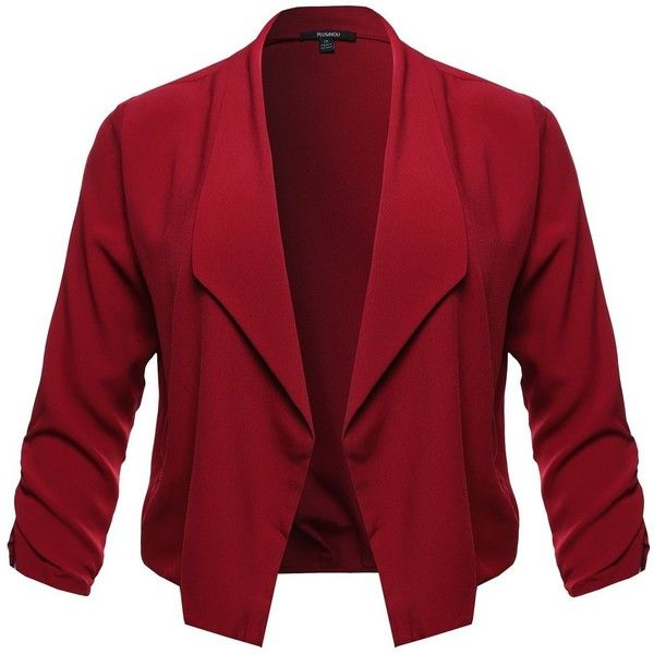Plus4u Women's Plus Size Shirring Sleeve Blazer Jacket ($16) ❤ liked on Polyvore featuring outerwear, jackets, blazers, plus size jackets, blazer jacket, ruched sleeve blazer, button up jacket and red blazer jacket